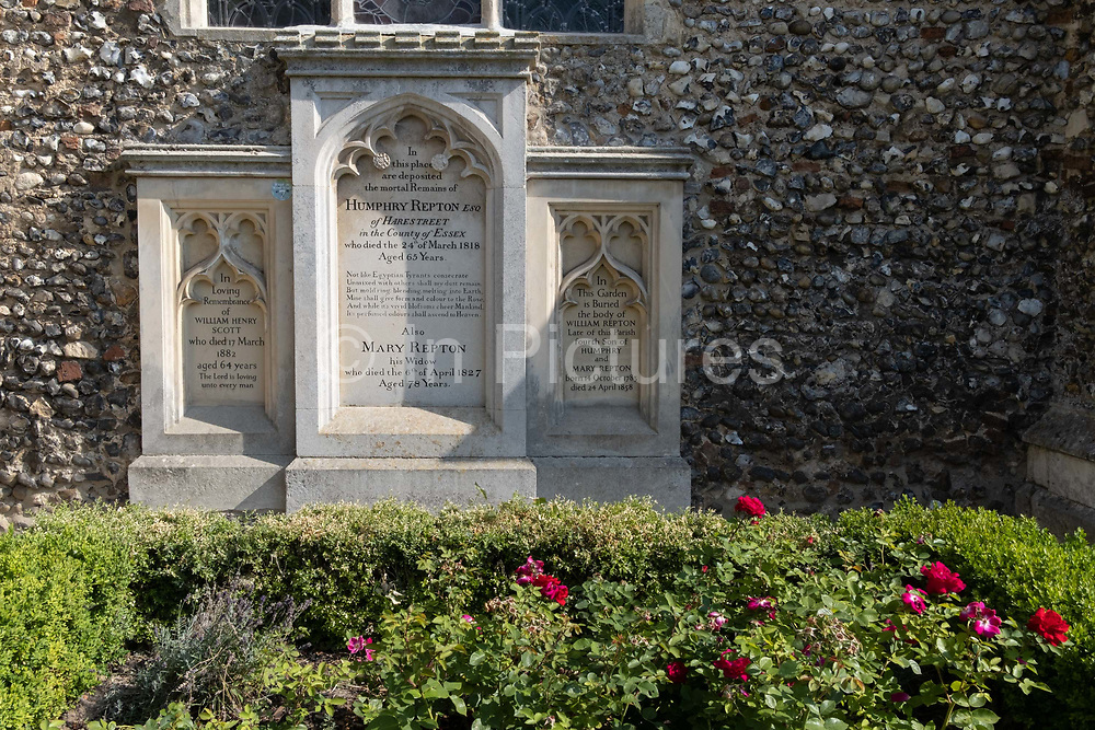 The memorial to the notable landscape architect Humphry repton and his wife Mary,  who were laid to rest outside the Church of St. Michael, on 10th August 2020, in Aylsham, Norfolk, England. Repton was the last great English landscape designer of the eighteenth century, often regarded as the successor to Capability Brown.