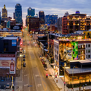 Kansas City Missouri downtown area from 20th and Main Streets, April 2021.