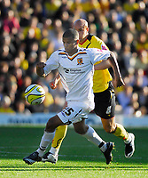 Photo: Leigh Quinnell.<br /> Watford v Hull City. Coca Cola Championship. 20/10/2007. Hulls Frazier Campbell keeps the ball from Watfords Gavin Mahon.