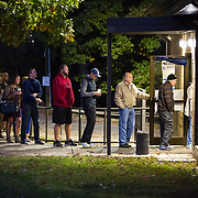 Charlotte, NC- November 8, 2016:  Residents of Mecklenburg county wait in line at precinct #109 in Charlotte, NC. Would-be voters began lining up a little before 6 while polls didn't open until 6:30. CREDIT: LOGAN R. CYRUS