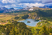 Rock Isle Lake in Alpine region of the Canadian Rocky Mountains. Sunshine Meadows. <br />
