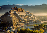 Potala Palace, exiled Dalai Lama's winter palace from Chagpo Ri, autumn, World Heritage Site, Lhasa, Tibet