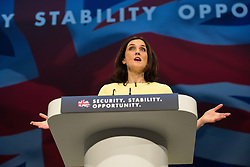 © Licensed to London News Pictures . 07/10/2015 . Manchester , UK . THERESA VILLIERS speaks to the conference . The Conservative Party Conference at the Manchester Central Convention Centre . Photo credit : Joel Goodman/LNP