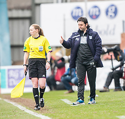 Dundee's manager Paul Hartley.<br /> half time : Dundee 0 v 1 Falkirk, Scottish Championship game played today at Dundee's Dens Park.<br /> © Michael Schofield.