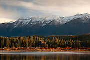 Snow capped peaks on the Swan Range above Rainy Lake, Montana.