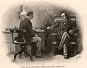 The Adventure of the Final Problem'. Sherlock Holmes calling on Dr Watson to ask for his help to defeat his adversary, Professor Moriarty, '… the Napoleon of crime, …'.  Illustration by Sidney E Paget (1860-1908) for 'The Adventures of Sherlock Holmes'  by Arthur Conan Doyle in 'The Strand Magazine' (London, 1893).  Paget was the first artist to draw  Holmes.