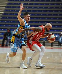 Nejc Barič of Primorska vs Filip Covic of Crvena Zvezda during basketball match between KK Crvena Zvezda (SRB) and KK Primorska (SLO) in 1st league of ABA League 2019/20, on October 6, 2019 in Belgrade, Serbia. Photo by Nebojsa Parausic / Sportida