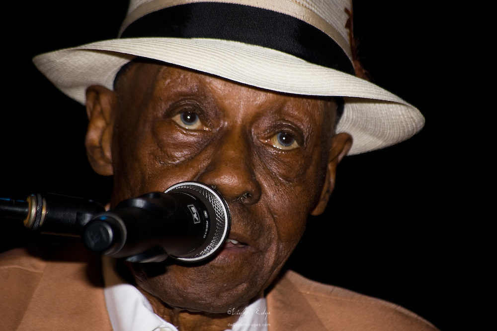 Pinetop Perkins playing with the The Perfect Age of Rock and Roll at 2010 Riverfront Blues festival in Wilmington, DE.