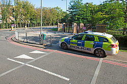 ©Licensed to London News Pictures 14/09/2020  <br /> Bromley, UK. A police car outside the main gate. Police have cordoned off Bromley College in Bromley, South East London after reports of a stabbing outside. credit:Grant Falvey/LNP