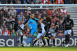 23 September 2017 -  Premier League - Southampton v Manchester United - Eric Bailly and Marouane Fellaini of Manchester United combine to clear the ball - Photo: Marc Atkins/Offside