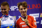 Podium, Men Points Race, Wojciech Pszczolarski (Poland) gold medal, Stefan Matzner (Austria) bronze medal, during the Track Cycling European Championships Glasgow 2018, at Sir Chris Hoy Velodrome, in Glasgow, Great Britain, Day 4, on August 5, 2018 - Photo Luca Bettini / BettiniPhoto / ProSportsImages / DPPI - Belgium out, Spain out, Italy out, Netherlands out -