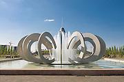 Fountains at Khan Shatyry Entertainment Center, landmark of Astana, Kazakhstan