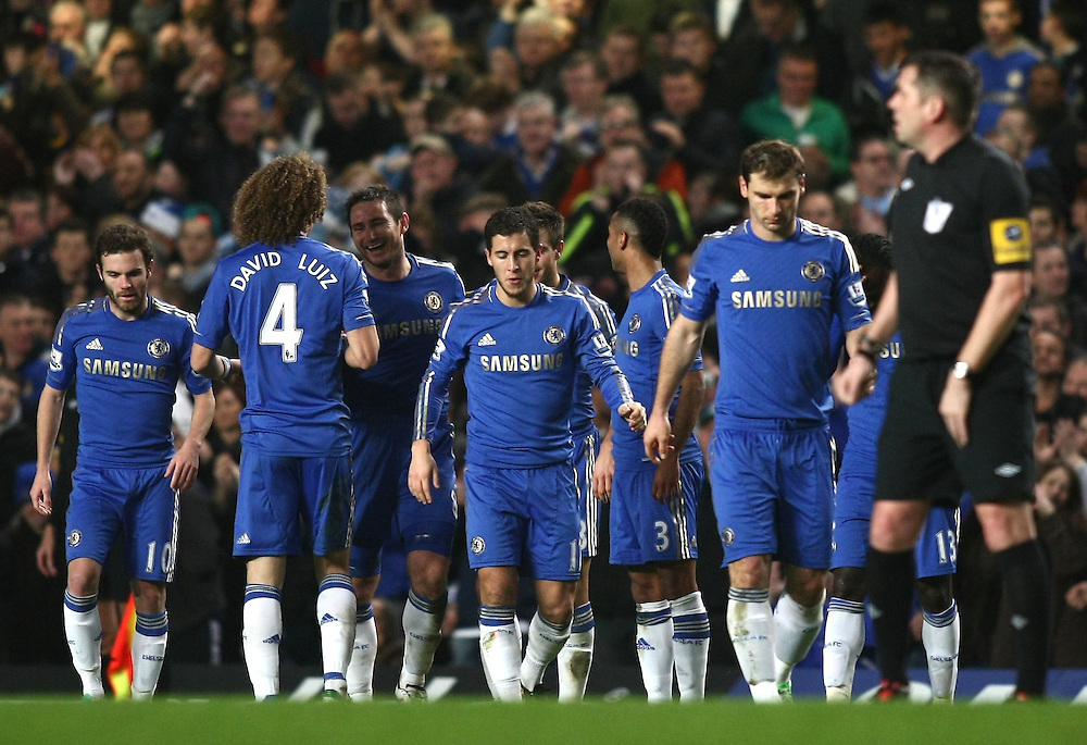 Chelsea's Frank Lampard (3rd from left) celebrates scoring his sides fourth goal with team-mates ..Football - Barclays Premiership - Chelsea v Aston Villa - Sunday 23rd December 2012 - Stamford Bridge - London..