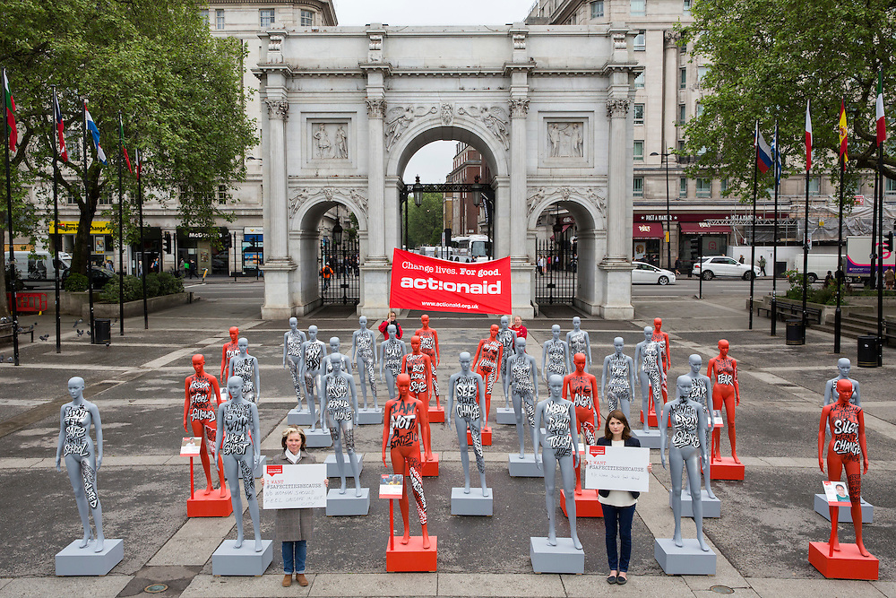 Actresses Imelda Staunton and Jodie Whittaker launch ActionAid's International Safe Cities for Women Day at Marble Arch, with an interactive exhibition featuring a group of 30 mannequins, London.<br /> Picture date: Thursday May 19, 2016. A third of the mannequins featured in the installation will be marked in red, to represent the one in three women who experience violence in their lifetimes. But behind every statistic is a real woman, and on each mannequin are quotes from women around the world telling their experience of urban violence and the stories behind the statistics. ActionAid is campaigning for the UK government to commit to increasing the proportion of aid going directly to women's groups working on the frontline in poor communities. (photo by Andrew Aitchison/In Pictures via Getty Images)