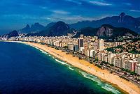 Aerial view of Copacabana Beach, Rio de Janeiro, Brazil.