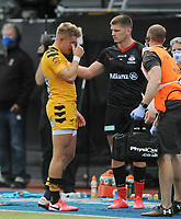 Rugby Union - 2019 / 202 Gallagher Premiership - Saracens vs Wasps<br /> <br /> Owen Farrell  waits for Charlie Atkinson of Wasps leaving the field injured after a tackle by Farrell   who received the red card   , at Allianz Park.<br /> <br /> COLORSPORT/ANDREW COWIE