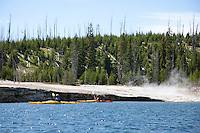 Sea kayaking on Yellowstone Lake in Yellowstone National Park, WY.