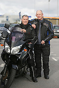 NO FEE PICTURES.5/5/13 On Saturday May 4th, the 8th Annual Rev-up4DSI motorcycle challenge in aid of Down Syndrome Ireland departed Joe Duffy BMW in Dublin, bound for Donegal. Pictured are Brian O'Driscoll, Howth and Jim Boland Malahide. Picture:Arthur Carron Photography