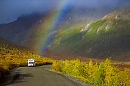 Truck camper recreational vehicle drives along the park road under a rainbow in autumn, Denali National Park, Alaska, © David A. Ponton
