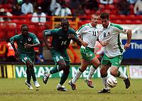 REPUBLIC OF IRELAND/NIGERIA UNITY CUP 29.05.04 <br />PHOTO TIM PARKER FOTOSPORTS INTERNATIONAL<br />SEYI OLOFINJANA NIGERIA & ALAN LEE IRELAND