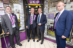 © Licensed to London News Pictures . 05/06/2014 . Newark , Nottinghamshire , UK . UKIP candidate Roger Helmer and leader Nigel Farage outside the UKIP shop in Newark today (Thursday 5th June 2014) as voting takes place in the Newark by-election , following the resignation of incumbent Patrick Mercer . Photo credit : Joel Goodman/LNP