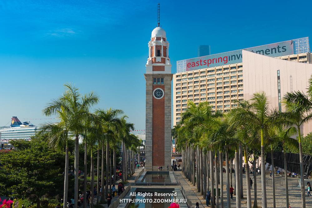 Railway clock tower In Tsim Sha Tsui, Hong Kong