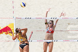 30.07.2017, Donauinsel, Wien, AUT, FIVB Beach Volleyball WM, Wien 2017, Damen, Gruppe A, im Bild v.l. Victoria Bieneck (GER), Katharina Holzer (AUT) // f.l. Victoria Bieneck of Germany Katharina Holzer of Austria during the women's group A match of 2017 FIVB Beach Volleyball World Championships at the Donauinsel in Wien, Austria on 2017/07/30. EXPA Pictures © 2017, PhotoCredit: EXPA/ Sebastian Pucher