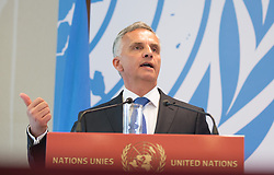 Swiss Federal Department of Foreign Affairs Didier Burkhalter addresses the media after attending the Geneva Conference on Preventing Violent Extremism in Geneva, Switzerland, April 8, 2016. United Nations Secretary-Genera Ban Ki-moon said Friday that a paradigm shift is needed to address violent extremism affecting communities across the globe. EXPA Pictures © 2016, PhotoCredit: EXPA/ Photoshot/ Xu Jinquan<br /> <br /> *****ATTENTION - for AUT, SLO, CRO, SRB, BIH, MAZ, SUI only*****