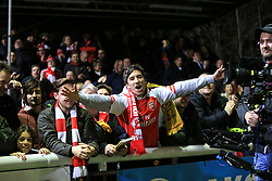 20 February 2017 - The FA Cup - (5th Round) - Sutton United v Arsenal - Arsenal fans celebrate their 1st goal - Photo: Marc Atkins / Offside.