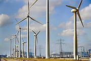 Nederland, Borsele, 15-4-2008..Het bedrijfsterrein van de EPZ met een windmolenpark tegen de achtergrond van een berijfsterrein bij Vlissingen...Foto: Flip Franssen