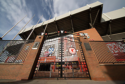LIVERPOOL, ENGLAND - Tuesday, March 17, 2020: The Paisley Gateway closed at a near deserted Anfield, home of Champions-elect Liverpool Football Club, after the suspension of all football due to the Coronavirus (COVID-19) and Liverpool's decision to close it's Boot Room cafe and official stores. (Pic by David Rawcliffe/Propaganda)