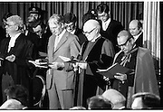 Inaugeration of President Hillery..1983.03.12.1983.12.03.1983.3rd December 1983...Dignitaries from home and abroad attended the Inaugeration of Patrick Hillery, as president of Ireland. the ceremony took place at St Patrick's Hall,Dublin Castle...Image of Cardinal Tomas O'Fiaich, Most Rev.,Henry McAdoo and Mr Maurice J Wigham commence the service of prayer prior to the commencement of the inaugeration.