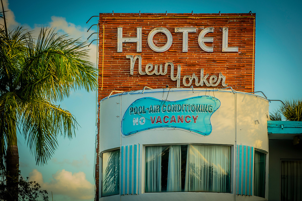 The Miami Modern (MiMo) style Hotel New Yorker on Miami's Biscayne Boulevard was designed by Norman Giller in 1953.
