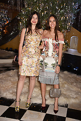 Lily Worcester and Natalie Salmon at reception to celebrate the launch of the Claridge's Christmas Tree 2017 at Claridge's Hotel, Brook Street, London England. 28 November 2017.
