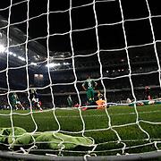 Fenerbahce's scores during their Turkish superleague soccer match Fenerbahce between Bursaspor at the Sukru Saracaoglu stadium in Istanbul Turkey on Monday 20 April 2015. Photo by Kurtulus YILMAZ/TURKPIX