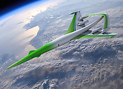 Jul 07, 2010 - USA -<br /> <br /> Space Plane<br /> <br />  Commercial near-space travel has long been a dream, and this is the latest concept plane to come off the drawing board. Released by NASA, this image shows something called the Supersonic Green Machine from Lockheed Martin. NASA said: What will passenger airplanes be like in the future? To help brain storm desirable and workable attributes, NASA sponsors design competitions. Shown here is an artist's depiction of a concept plane that has been recently suggested. This futuristic plane would be expected to achieve supersonic speeds, possibly surpassing the speeds of the supersonic transport planes that ran commercially in the late 20th century. In terms of noise reduction, the future aircraft has been drawn featuring an inverted V wing stretched over its engines. The structure is intended to reduce the sound from annoying sonic booms. Additionally, future airplanes would aim to have relatively little impact on our environment, including green limits on pollution and fuel consumption. Aircraft utilising similar design concepts might well become operational by the 2030s.<br /> ©Exclusivepix