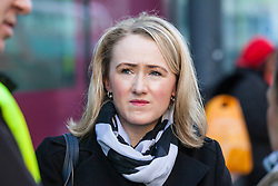 London, UK. 14th February, 2019. Rebecca Long-Bailey, Shadow Secretary of State for Business, Energy and Industrial Strategy, shows solidarity on a Valentine's Day-themed picket line outside the Department of Business, Energy and Industrial Strategy (BEIS) with outsourced support staff from the Public & Commercial Services (PCS) union taking strike action to demand the London Living Wage and an end to outsourcing.