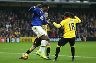 Romelu Lukaku of Everton back heels the ball.Premier league match, Watford v Everton at Vicarage Road in Watford, London on Saturday 10th December 2016.<br /> pic by John Patrick Fletcher, Andrew Orchard sports photography.