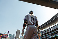 Alexei Ramirez #10 of the Chicago White Sox waits on-deck during a game against the Minnesota Twins on September 16, 2012 at Target Field in Minneapolis, Minnesota.  The White Sox defeated the Twins 9 to 2.  Photo: Ben Krause