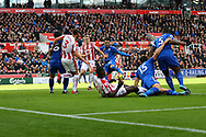 Vicente Iborra of Leicester City shoots and scores his teams 1st goal to make it 0-1. Premier league match, Stoke City v Leicester City at the Bet365 Stadium in Stoke on Trent, Staffs on Saturday 4th November 2017.<br /> pic by Chris Stading, Andrew Orchard sports photography.