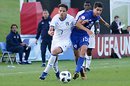 Samuele Ricci of Italy (7) challenges Nadav Aviv Niddam of Israel (15) during the UEFA European Under 17 Championship 2018 match between Israel and Italy at St George's Park National Football Centre, Burton-Upon-Trent, United Kingdom on 10 May 2018. Picture by Mick Haynes.