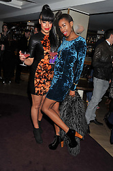 Left to right, GIZZI ERSKINE and SARAH JANE CRAWFORD at the launch of 'She Died of Beauty' as part of London Fashion Week Autumn/Winter 2012 held at The Club at The Ivy Club, London on 17th February 2012.
