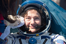 Expedition 62 astronaut Jessica Meir is seen outside the Soyuz MS-15 spacecraft after she landed with NASA astronaut Andrew Morgan and Roscosmos cosmonaut Oleg Skripochka in a remote area near the town of Zhezkazgan, Kazakhstan on Friday, April 17, 2020. Meir and Skripochka returned after 205 days in space, and Morgan after 272 days in space. All three served as Expedition 60-61-62 crew members onboard the International Space Station.<br /> <br /> Where: Zhezkazgan, Kazakhstan<br /> When: 17 Apr 2020<br /> Credit: NASA/GCTC/Andrey Shelepin/Cover Images<br /> <br /> **Editorial use only**