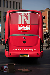 © Licensed to London News Pictures . 13/05/2016 . Liverpool , UK . Labour In for Britain campaign bus and campaigners in Williamson Square in Liverpool . Photo credit : Joel Goodman/LNP
