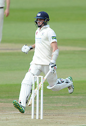 Michael Klinger of Gloucestershire runs over the line to score a century - Photo mandatory by-line: Dougie Allward/JMP - Mobile: 07966 386802 - 08/06/2015 - SPORT - Football - Bristol - County Ground - Gloucestershire Cricket v Lancashire Cricket Day 2 - LV= County Championship