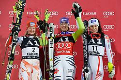 11-01-2011 SKIEN: FIS WORLD CUP: FLACHAU<br /> FIS World Cup Ski Alpin, Ladies, Slalom / v.l. Tanja Poutiainen (FIN), Maria Riesch (GER), Nastasia Noens (FRA) **NETHERLANDS ONLY**<br /> ©2011-WWW.FOTOHOOGENDOORN.NL /  EXPA-S. Zangrando