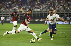 July 31, 2018 - Minneapolis, MN, U.S.A - AC Milan forward Suso (8) took a first half shot on goal while Tottenham Hotspur defender Anthony Georgiou (42) closed in.     ]  JEFF WHEELER • jeff.wheeler@startribune.com ....Tottenham Hotspur faced AC Milan in an International Champions Cup series game at U.S. Bank Stadium in Minneapolis Tuesday night, July 31, 2018. (Credit Image: © Jeff Wheeler/Minneapolis Star Tribune via ZUMA Wire)
