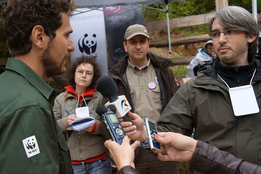 Magor Czibi, WWF Romania, being interviewed at the release of European bison, Bison bonasus, in the Tarcu mountains nature reserve, Natura 2000 area, Southern Carpathians, Romania. The release was actioned by Rewilding Europe and WWF Romania in May 2014.