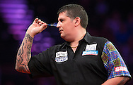 Gary Anderson in action during his final match against Raymond van Barneveld in the Betway Premier League Darts at the Brighton Centre in Brighton, East Sussex. PRESS ASSOCIATION Photo. Picture date: Thursday 15th May, 2014. Photo credit should read: Chris Ison/PA Wire.