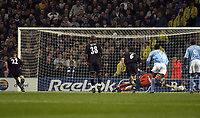 Picture: Henry Browne.<br />Date: 09/11/2003.<br />Manchester City v Leicester City  FA Barclaycard Premiership.<br />Paul Dickov runs off after scoring for Leicester from the spot